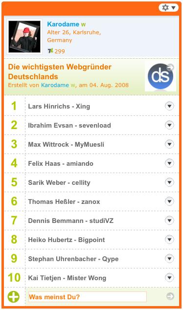 Topliste deutscher Webgründer